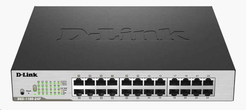 D-Link DGS-1100-24P 24-Port PoE Gigabit Smart Switch, 12x PoE, PoE budget 100W