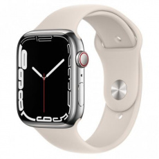 Apple Watch Series 7 Cell, 45mm Silver/Steel Case/Starlight SportBand