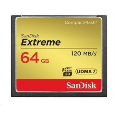 SanDisk Compact Flash Extreme (120 MB/s zápis 85 MB/s UDMA7) - 64GB