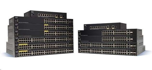 Cisco switch SG350-52MP 48x10/100/1000, 2xSFP, 2xGbE SFP/RJ-45, PoE