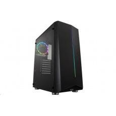 Fortron skříň Midi Tower CMT151 Black, průhledná bočnice, 1 x A. RGB LED 120 mm ventilátor