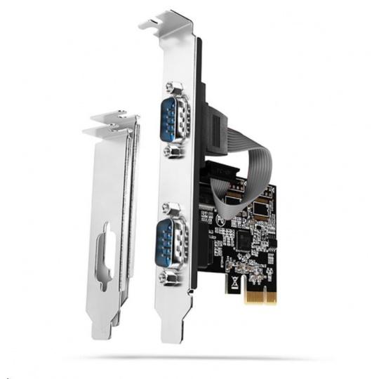 AXAGON PCEA-S2N, PCIe řadič - 2x sériový port (RS232) 250 kbps, vč. LP