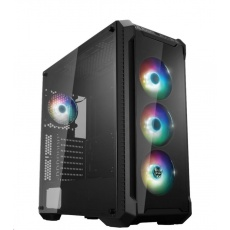 Fortron skříň Midi Tower CMT520 PLUS Black, průhledná bočnice, 4 x A.RGB LED 120 mm ventilátor