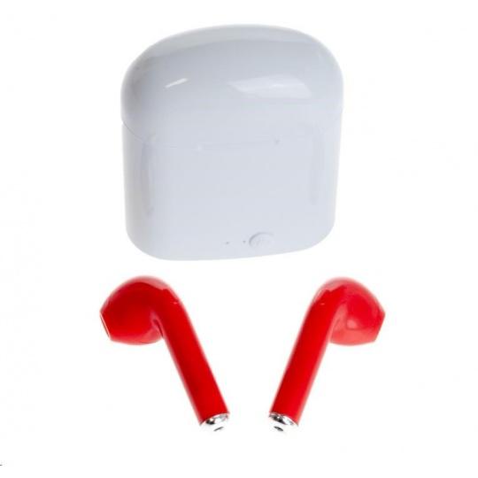 Power+ iS7 sluchátka Bluetooth 4.1 , 10m , nabíjecí pouzdro, desing iPhon, červená