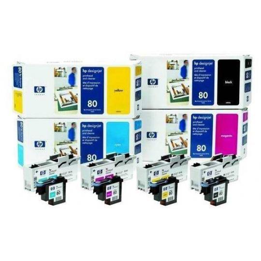 HP 80 Black Printhead + Printhead Cleaner, C4820A