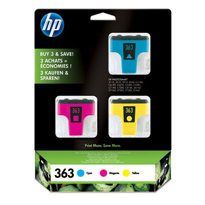 HP 363 Tri-color Ink Cart, C4 + M3,5 + Y6 ml, CB333EE