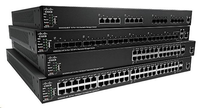 Cisco switch SF550X-24MP, 24x10/100, 2x10GbE SFP+/RJ-45, 2xSFP+, PoE