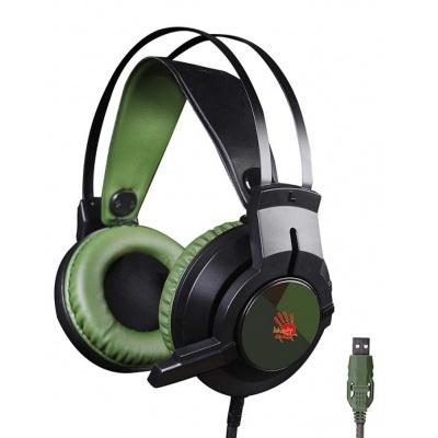 A4tech Bloody J437 herní sluchátka, 7.1., USB, zelená barva
