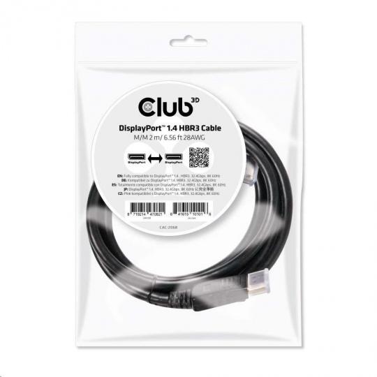 Club3D Kabel DisplayPort 1.4 HBR3 8K60Hz (M/M), 2m