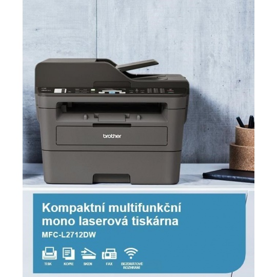 BROTHER multifunkce laserová MFC-L2712DW - A4, 30ppm, 64MB, 600x600copy, USB, WIFI, LAN, 250l, 50ADF, DUPLEX