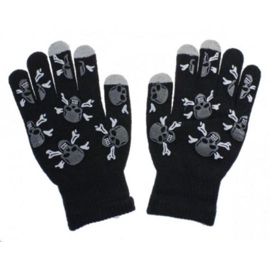 Aligator rukavice SKULL na dotykový displej, černá