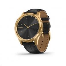Garmin monitorovací náramek a hodinky vivomove3 Luxe, 24K Gold/BlackLeather Band