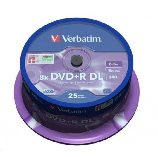 VERBATIM DVD+R(25-pack) Double layer/8x/8.5GB/spindle