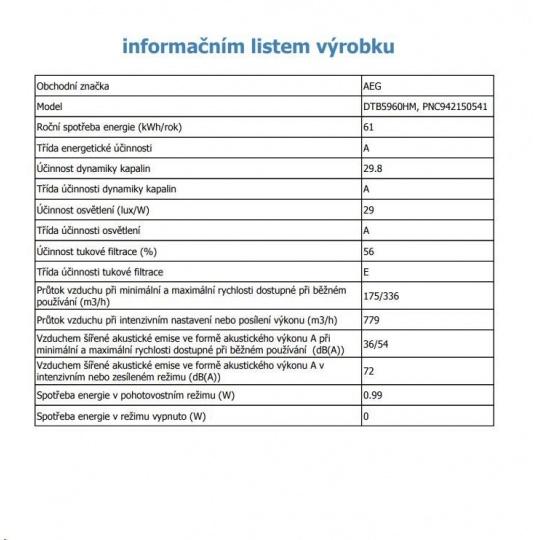 AEG Mastery DTB5960HM DIGESTOŘ KOMÍNOVÁ