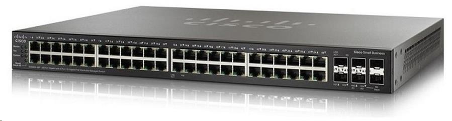 Cisco switch SG350X-48MP, 48x10/100/1000, 2x10GbE SFP+/RJ-45, 2xSFP+, PoE
