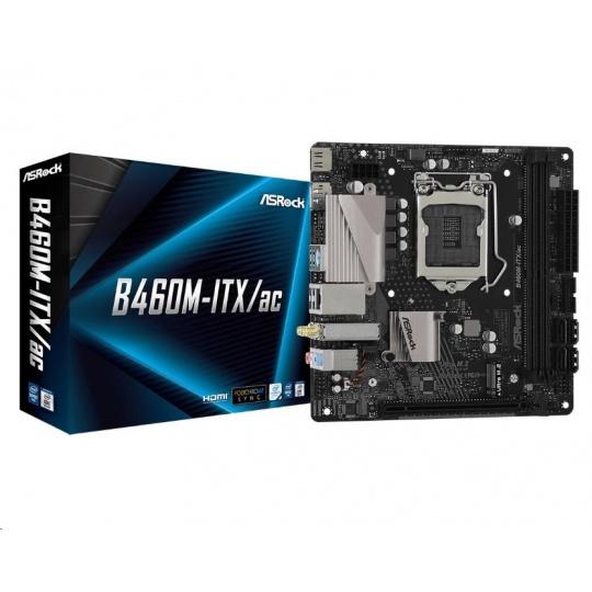 ASRock MB Sc LGA1200 B460M-ITX/AC, Intel B460, 2xDDR4, VGA, miniITX, WIFI