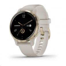 Garmin GPS sportovní hodinky Venu2S Light Gold/Sand Band